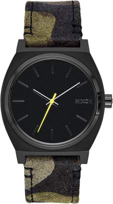 Nixon 'The Time Teller' Leather Strap Watch, 37mm