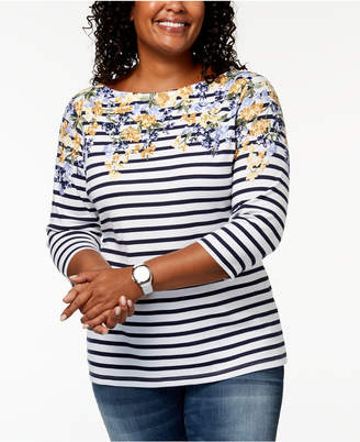 Karen Scott Plus-Size Embellished Mixed-Print T-Shirt, Created for Macy's