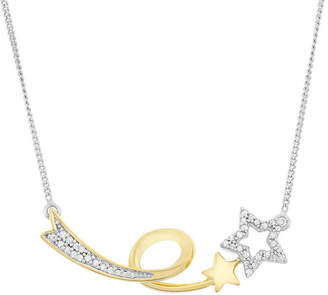 FINE JEWELRY Womens 1/7 CT. T.W. White Diamond Sterling Silver Star Statement Necklace