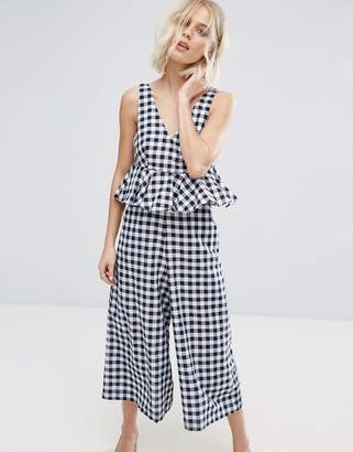 Lost Ink Frill Jumpsuit In Gingham $73 thestylecure.com