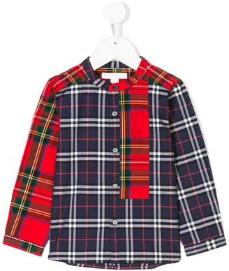Burberry mandarin neck plaid shirt