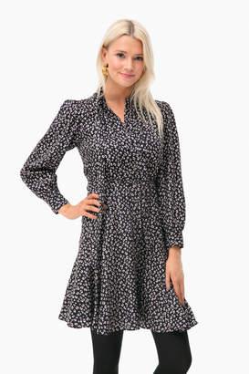 Rebecca Taylor Long Sleeve Mini Cheetah Dress