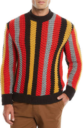 Salvatore Ferragamo Men's Striped Cashmere-Wool Crewneck Sweater