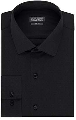 Kenneth Cole Reaction Kenneth Cole Mens Dress Shirts Slim Fit Solid Dot Spread Collar