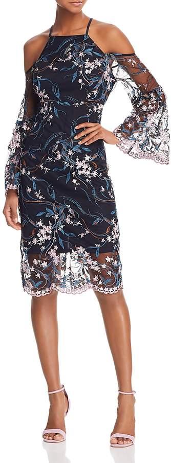 Nanette Nanette Lepore nanette Nanette Lepore Cold-Shoulder Embroidered Sheath Dress
