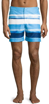 Orlebar Brown Bulldog McGovern Striped Swim Trunks, Blue $275 thestylecure.com