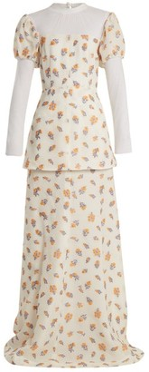 Emilia Wickstead Clemmie Tulle Panel Cloque Gown - Womens - Ivory Multi