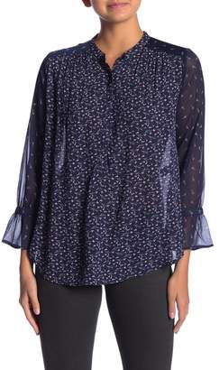 Lucky Brand Mixed Media Patterned Peasant Blouse