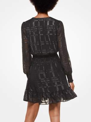 MICHAEL Michael Kors Plaid Jacquard Ruffled Dress