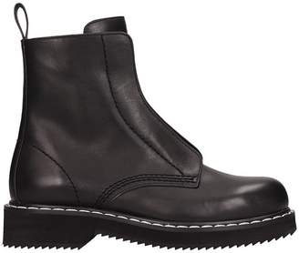 Jil Sander Navy Balck Leather Combact Boots