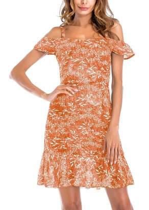 FEOYA Women's Sexy Adjustable Spaghetti Straps Braces Slim Fit Elegant Summer Dress M