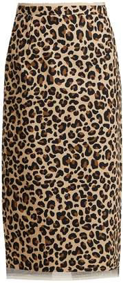 NO. 21 Leopard-print cotton-canvas pencil skirt