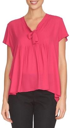 CeCe Pleat Tie Neck Blouse $89 thestylecure.com