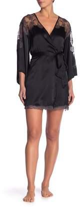 Josie Natori Lace Trim Wrap Silk Robe