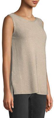 Lafayette 148 New York Shimmered Ribbed-Knit Sleeveless Tunic