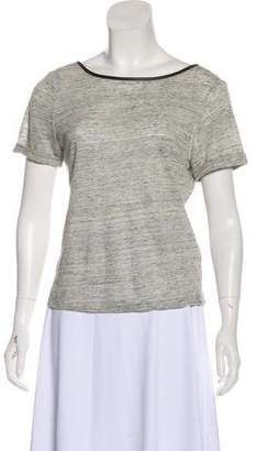 Alice + Olivia Leather-Accented Linen Top
