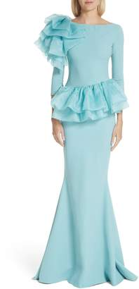 Chiara Boni Glanys Organza Ruffle Mermaid Gown