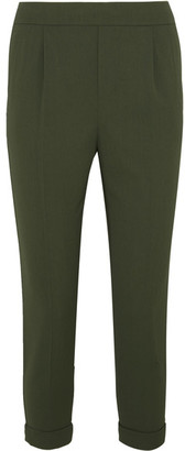 Vince - Cropped Washed Stretch-crepe Tapered Pants - Army green $345 thestylecure.com