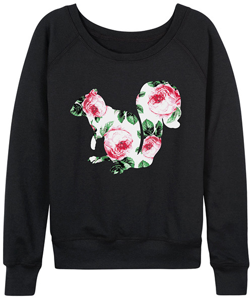 Black Floral Squirrel Slouchy Pullover - Women