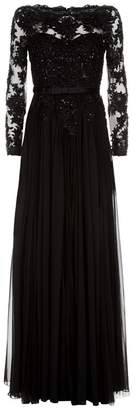 Badgley Mischka Beaded Lace Boat Neck Gown