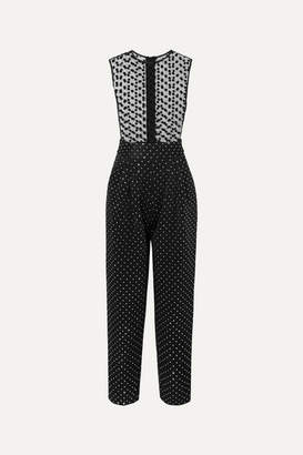 Balmain Flocked Tulle And Crystal-embellished Crepe Jumpsuit - Black
