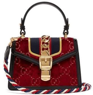 Gucci Sylvie Mini Velvet Cross Body Bag - Womens - Burgundy