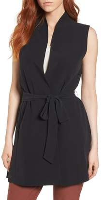 Eileen Fisher Silk Georgette Crepe Long Vest