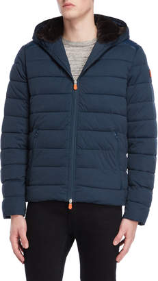 Save The Duck Navy Faux Fur-Lined Puffer Coat