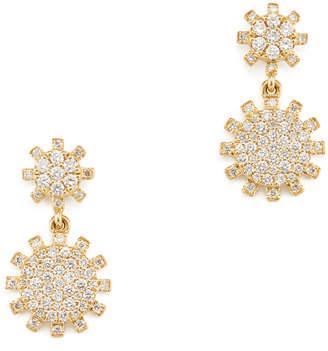 Rosa De La Cruz Rosa de la Cruz Sunflower Diamond Yellow Gold Hanging Earrings