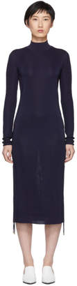 Carven Navy Turtleneck Ruched Sides Dress