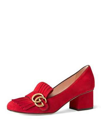 Gucci Marmont Fringe Suede 55mm Loafer, Red $750 thestylecure.com