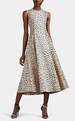 Calvin Klein Women's Cheetah-Print Silk Faille Midi-Dress - Beige