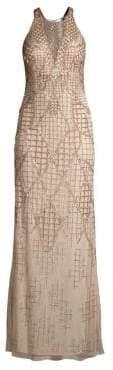 Aidan Mattox Sleeveless Beaded Halterneck Dress