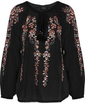 Love Sam Embellished Cotton-Gauze Blouse