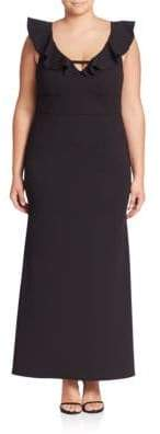 ABS by Allen Schwartz Plus Deep V-Neck Ruffle Gown