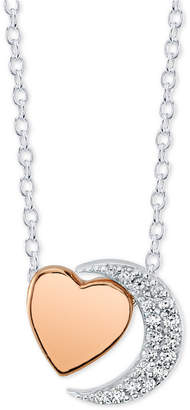 394665c8c05 Unwritten Crystal Moon & Heart Pendant Necklace in Sterling Silver & Rose  Gold-Flash,