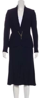 Alexander McQueen Gold Accented Knee-Length Skirt Suit