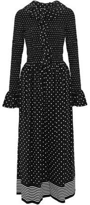 Stella McCartney Smocked Ruffled Polka-Dot Silk Jumpsuit