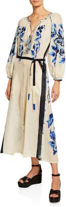 Vita Kin V-Neck Tasseled Floral Long-Sleeve Dress, White