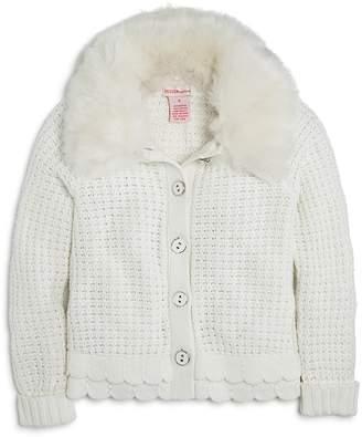 Design History Girls' Cardigan with Faux-Fur Collar