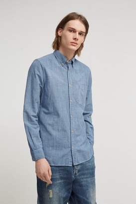 French Connenction Linen Gingham Overdyed Shirt