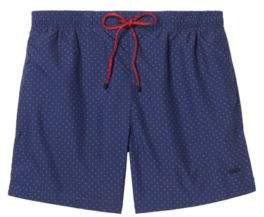 BOSS Hugo Square-Print Quick Dry Swim Trunk Boxfish XXL Open Blue