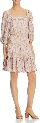 Rebecca Taylor Leander Metallic Floral Dress