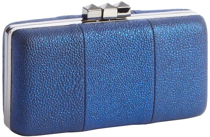 Sondra Roberts Metallic Blue Pebbled Leather Hinged Clutch