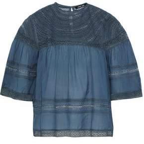 Love Sam Crochet-Paneled Gauze Blouse