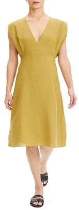 Theory Plunge Neck Linen Dress