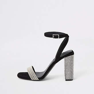River Island Black diamante embellished block heel sandals