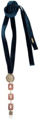 Marni Horn Chain Pendant On Velvet Necklace