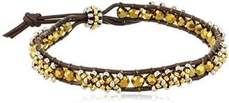 Miguel Ases Cross Stitch 3D Brown Leather Slip-Knot Bracelet
