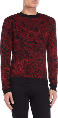 Versace Red & Black Paisley Sweater